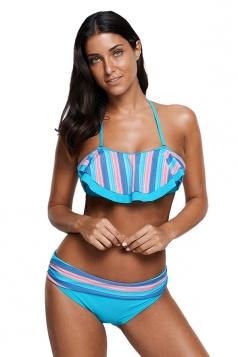 Womens Halter Ruffle Crop Top High Waist Bottom Striped Bikini Blue