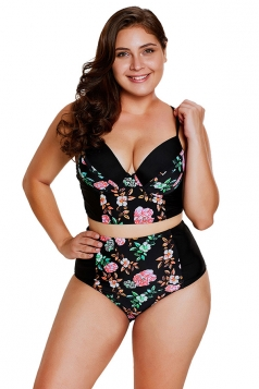 Womens Floral Push Up High Waist Bottom Plus Size Printed Bikini Black