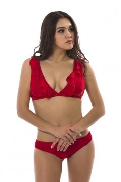 Womens Sexy V Neck Ruffle Sleeve Top&Swimwear Bottom Plain Bikini Red