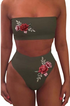 Womens Bandeau Top&High Waist Bottom Embroidered Bikini Set Army Green