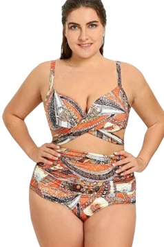 Womens Criss Cross High Waisted Two Piece Plus Size Swimsuit Orange