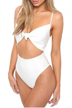 Womens Sexy Tie Bandage Cut Out High Waisted One Piece Swimsuit White