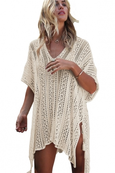 Womens Sexy Crochet V Neck Tassel Cut Out Boho Beach Dress Apricot