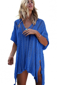 Womens Sexy Crochet V Neck Tassel Cut Out Boho Beach Dress Blue