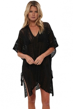Womens Sexy Crochet V Neck Tassel Cut Out Boho Beach Dress Black