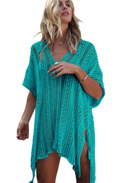 Womens Sexy Crochet V Neck Tassel Cut Out Boho Beach Dress Turquoise