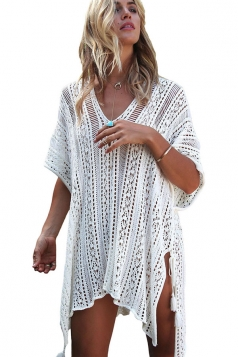 Womens Sexy Crochet V Neck Tassel Cut Out Boho Beach Dress White