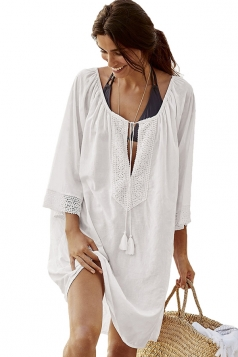 Womens Oversized Lace Fringe Bohemian Plain Beach Dress White