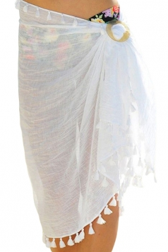Womens Sexy Sheer Fringe Asymmetric Hem Plain Beach Sarong White