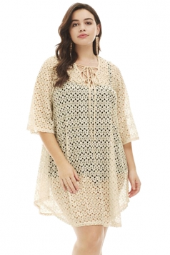 Womens Sexy Crochet Lace Up Sheer V Neck Plus Size Beach Dress Apricot