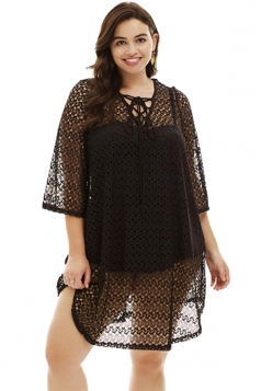 Womens Sexy Crochet Lace Up Sheer V Neck Plus Size Beach Dress Black
