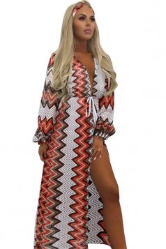 Womens Sexy Crochet Lace Waist Tie Wave Printed Beach Sarong Orange