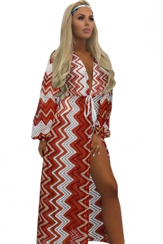Womens Sexy Crochet Lace Waist Tie Wave Beach Sarong Watermelon Red