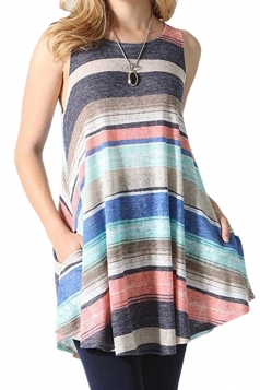 Womens Sleeveless With Pocket Color Block Loose Tank Top Sapphire Blue
