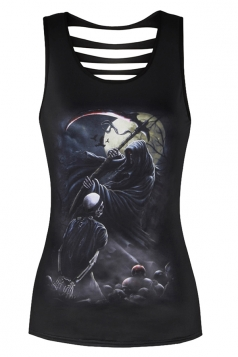 Womens Sexy Crew Neck Death Printed Cut Out Back Tank Top Dull Black