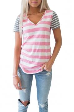 Womens Fashion V Neck Short Sleeve Stripe Color Block T-Shirt Pink