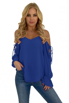 Womens Spaghetti Straps Cold Shoulder Lace Up Bell Sleeve T-Shirt Blue