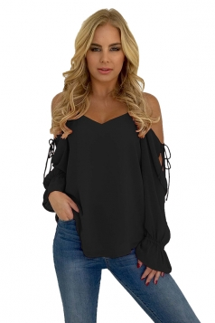Womens V Neck Cold Shoulder Lace Up Bell Sleeve Plain T-Shirt Black
