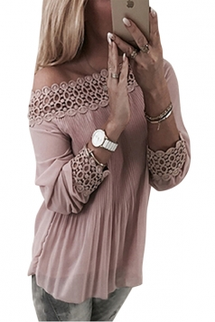 Womens Sexy Off Shoulder Long Sleeve Cut Out Pleated Plain Blouse Pink