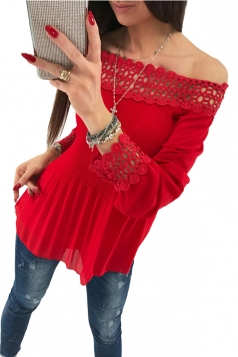 Womens Off Shoulder Long Sleeve Cut Out Loose Pleated Plain Blouse Red