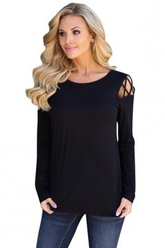 Womens Stylish Criss Cross Cold Shoulder Crew Neck T Shirt Black