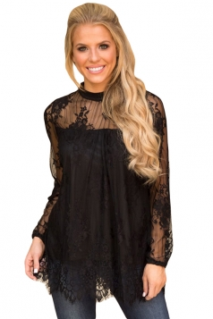 Womens Sexy Lace Scalloped Hem Long Sleeve Floral Sheer Top Black
