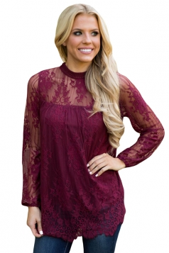 Womens Sexy Lace Scalloped Hem Long Sleeve Floral Sheer Top Ruby