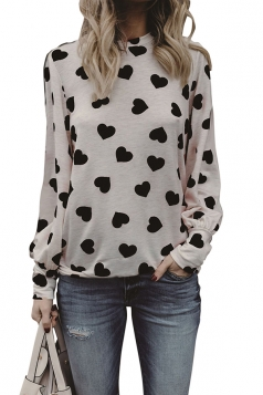 Womens Puff Sleeve Crew Neck Heart Printed Blouse Black And White
