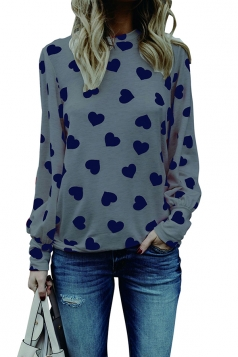 Womens Trendy Puff Sleeve Crew Neck Heart Printed Blouse Gray
