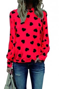 Womens Puff Sleeve Crew Neck Heart Printed Blouse Watermelon Red