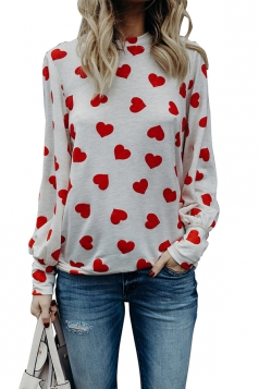 Womens Trendy Puff Sleeve Crew Neck Heart Printed Blouse White