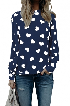 Womens Trendy Puff Sleeve Crew Neck Heart Printed Blouse Navy Blue