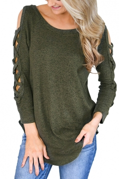 Womens Sexy Cold Shoulder Cut Out Long Sleeve Plain Blouse Green