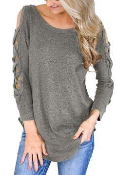 Womens Sexy Cold Shoulder Cut Out Long Sleeve Plain Blouse Gray