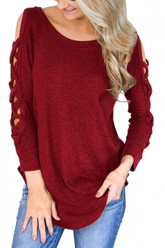 Womens Sexy Cold Shoulder Cut Out Long Sleeve Plain Blouse Ruby