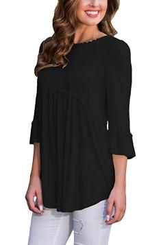 Womens Casual Crew Neck 3/4 Length Sleeve Pleated Plain Blouse Black