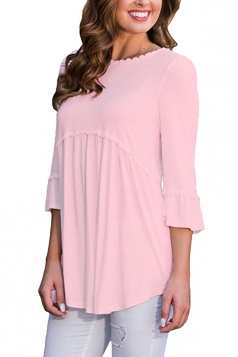 Womens Casual Crew Neck 3/4 Length Sleeve Loose Plain Blouse Pink