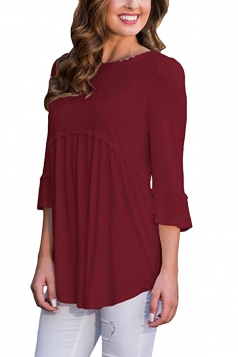 Womens Casual Crew Neck 3/4 Length Sleeve Loose Plain Blouse Ruby