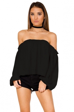 Womens Sexy Off Shoulder Long Puff Sleeve Loose Plain Blouse Black