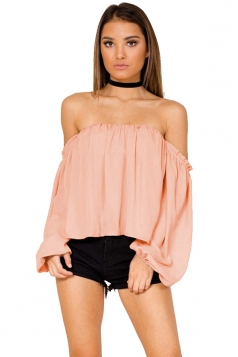 Womens Sexy Off Shoulder Long Puff Sleeve Loose Plain Blouse Pink