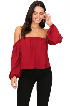 Womens Sexy Off Shoulder Long Puff Sleeve Loose Plain Blouse Red