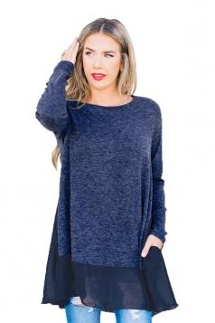 Womens Casual Crew Neck Long Sleeve Chiffon Hem Loose T-Shirt Blue