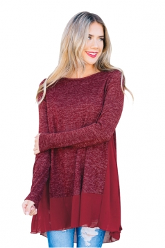 Womens Crew Neck Long Sleeve Chiffon Hem Patchwork Loose T-Shirt Ruby