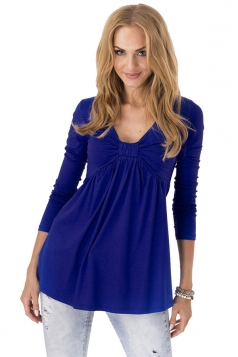 Women Bowknot V Neck Long Sleeves Pleated Loose Blouse Sapphire Blue