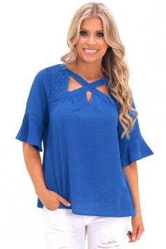 Womens Trendy Bell Sleeve Lace Criss Cross Cut Out T Shirt Blue
