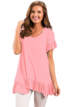 Womens Trendy Oversized Half Sleeve Ruffle Hem Plain Blouse Pink