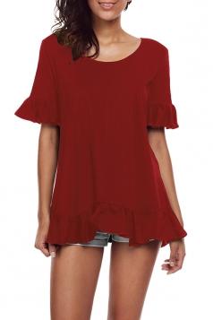 Womens Trendy Oversized Half Sleeve Ruffle Hem Plain Blouse Ruby