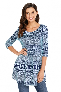 Womens Vintage Half Sleeve Printed Crew Neck Peplum Top Blue