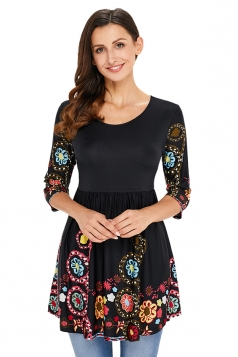 Womens Vintage Half Sleeve Floral Crew Neck Peplum Top Dull Black
