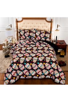 Homelike Floral Three Piece Colorful Skull Printed King Bedding Sets